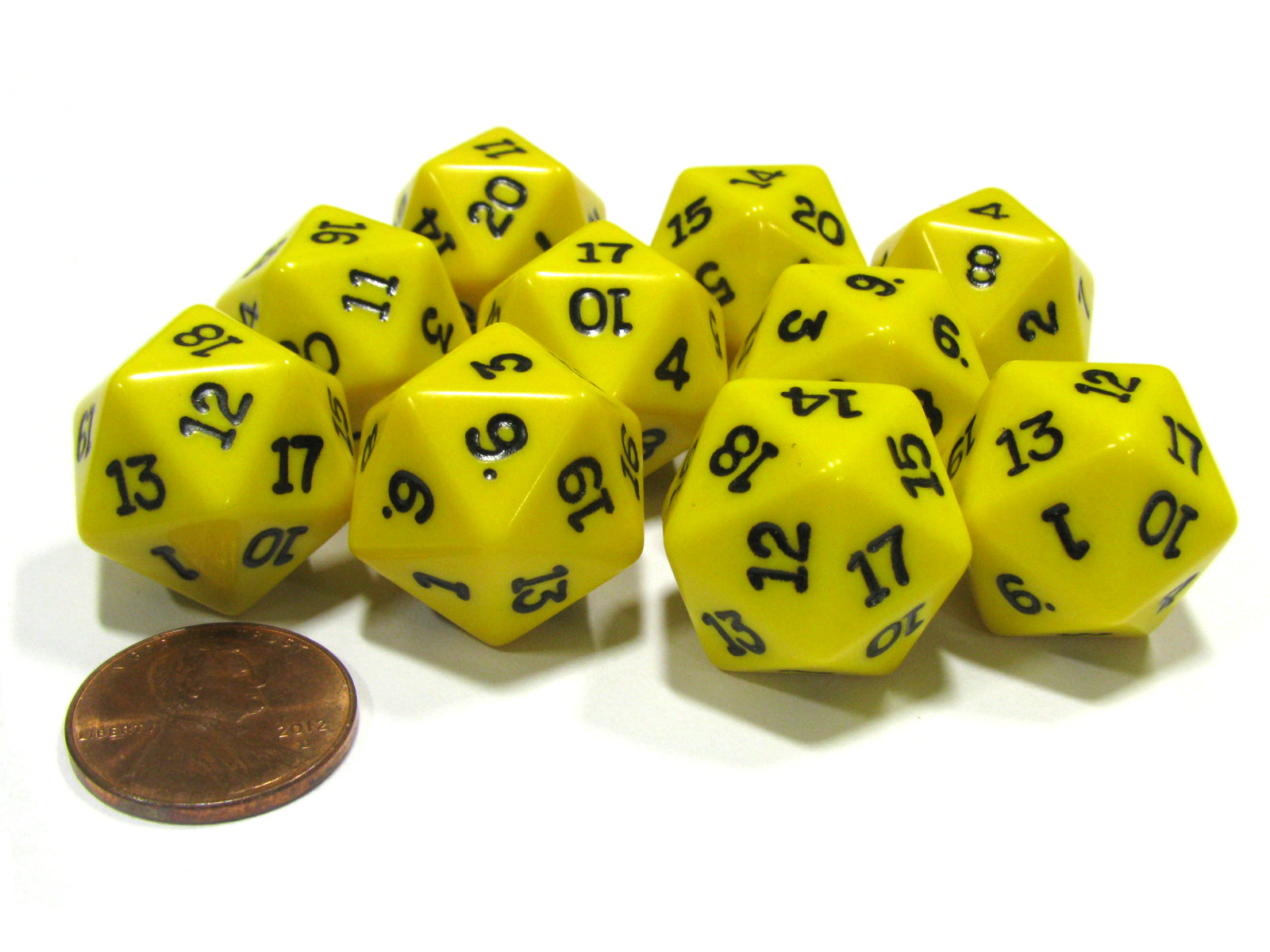 Set of 10 Twenty Sided 19mm D20 Opaque RPG Dice - Yellow with Black Numbers Die