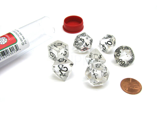 Polyhedral 7-Die Transparent Koplow Games Dice Set - Clear