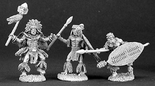 Reaper Miniatures Malapango Savages (3 Pcs) #03145 Dark Heaven Unpainted Metal