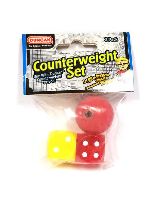 Duncan 3 Piece YoYo Counterweight Set - 2 Dice (Yellow and Red) and 1 Ball