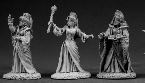 Reaper Miniatures Female Wizard (3 Pcs) #03343 Dark Heaven Unpainted Metal