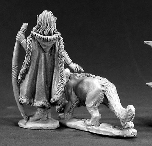 Reaper Miniatures Unpainted Aeris Female Elf Ranger & Panther 03401 Dark Heaven