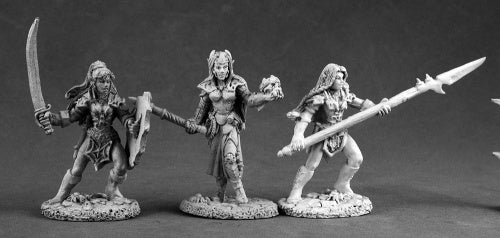 Reaper Miniatures Dark Elves (3 Pcs) #03516 Dark Heaven Unpainted Metal