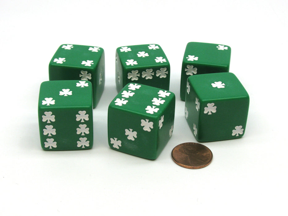 Pack of 6 Shamrock D6 25mm Large Jumbo Dice - Green with White Pips