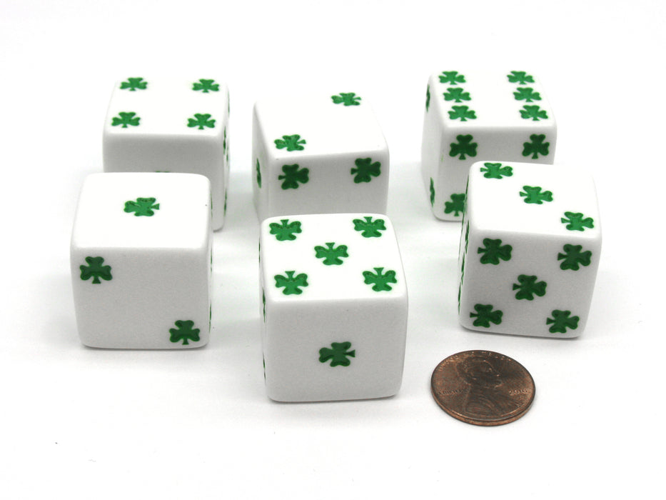 Pack of 6 Shamrock D6 25mm Large Jumbo Dice - White with Green Pips