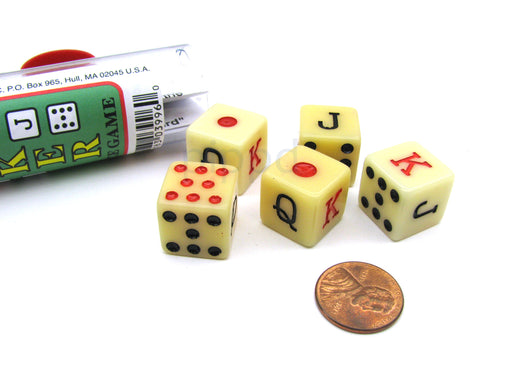 Spanish Poker Dice Game with 5 Dice Travel Tube and Gaming Instructions