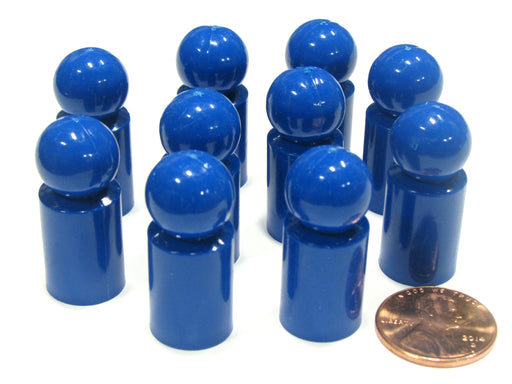 Set of 10 Ball Pawns 30mm Peg Pieces for Board Game Play - Blue