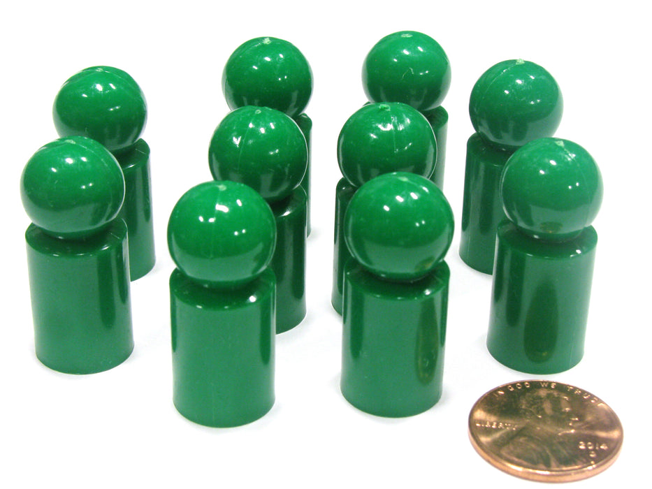 Set of 10 Ball Pawns 30mm Peg Pieces for Board Game Play - Green