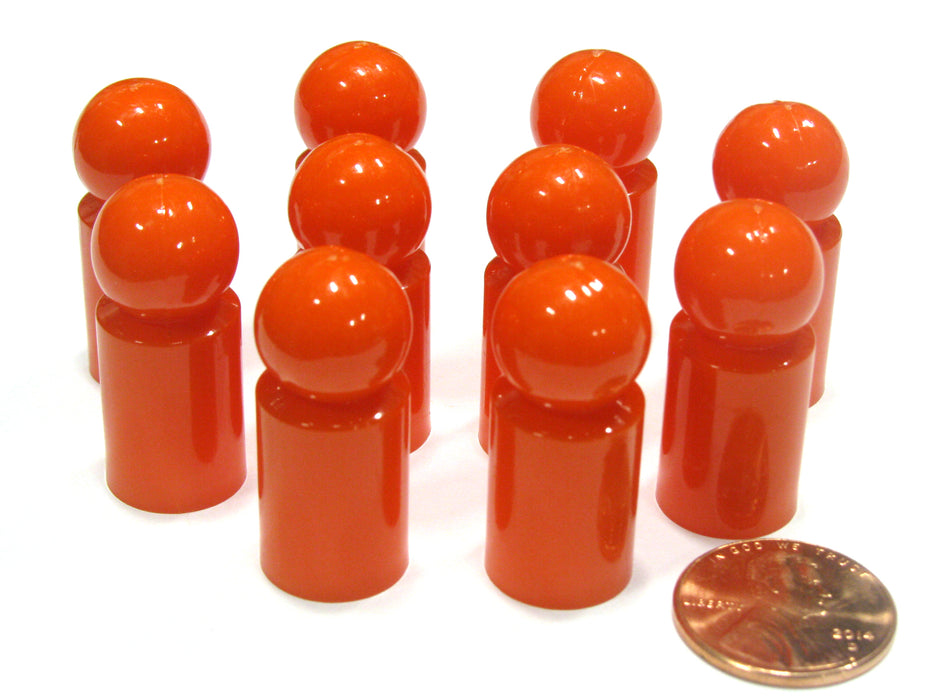 Set of 10 Ball Pawns 30mm Peg Pieces for Board Game Play - Orange