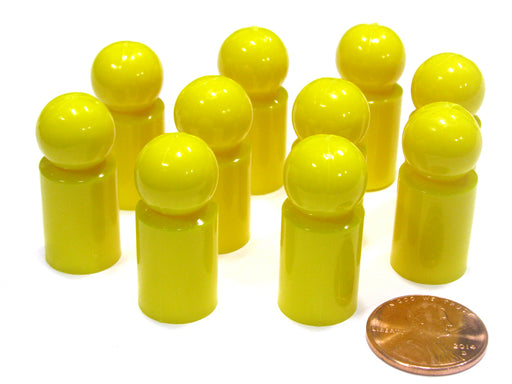 Set of 10 Ball Pawns 30mm Peg Pieces for Board Game Play - Yellow