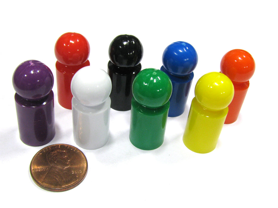 Set of 8 Ball Pawns 30mm Peg Pieces for Board Game Play - Assorted Colors
