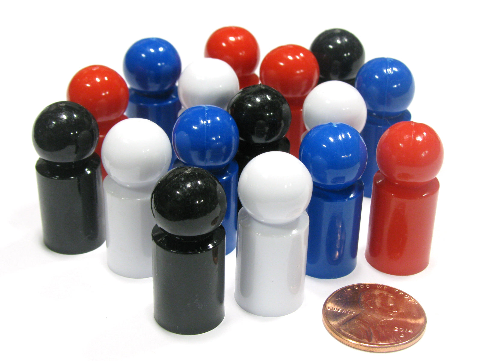 Set of 16 Ball Pawn 30mm - 4 Each of Black Blue White Red