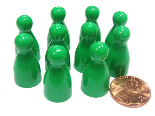 Set of 10 Halma 25mm Pawns Pawn Peg Pegs Board Game Play Pieces - Green