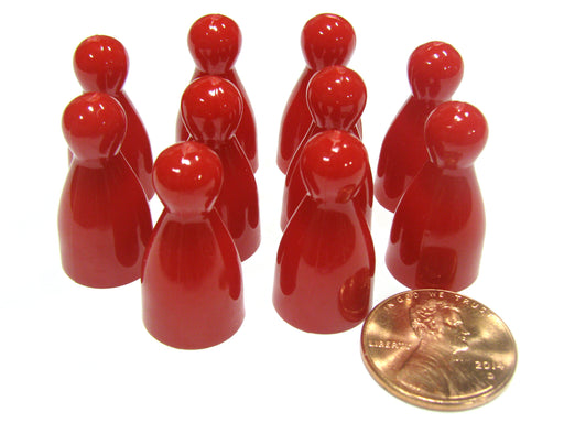 Set of 10 Halma 25mm Pawns Pawn Peg Pegs Board Game Play Pieces - Red