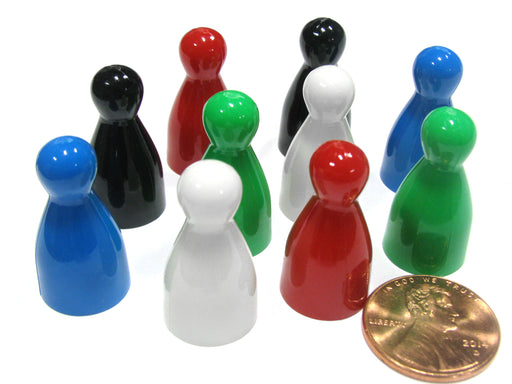Set of 10 Halma Pawns 25mm - 2 Each of Black Blue Green Red White
