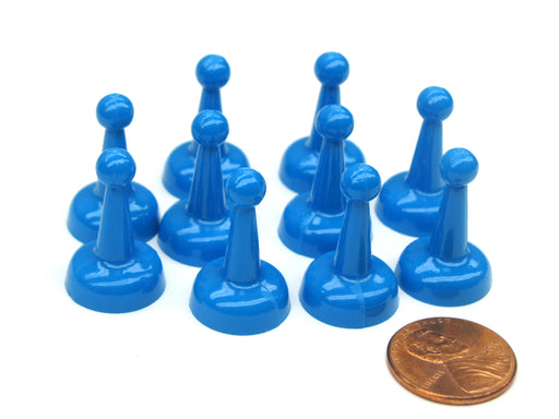 Set of 10 Standard Pawns 25mm Peg Pieces for Board Game Play - Blue