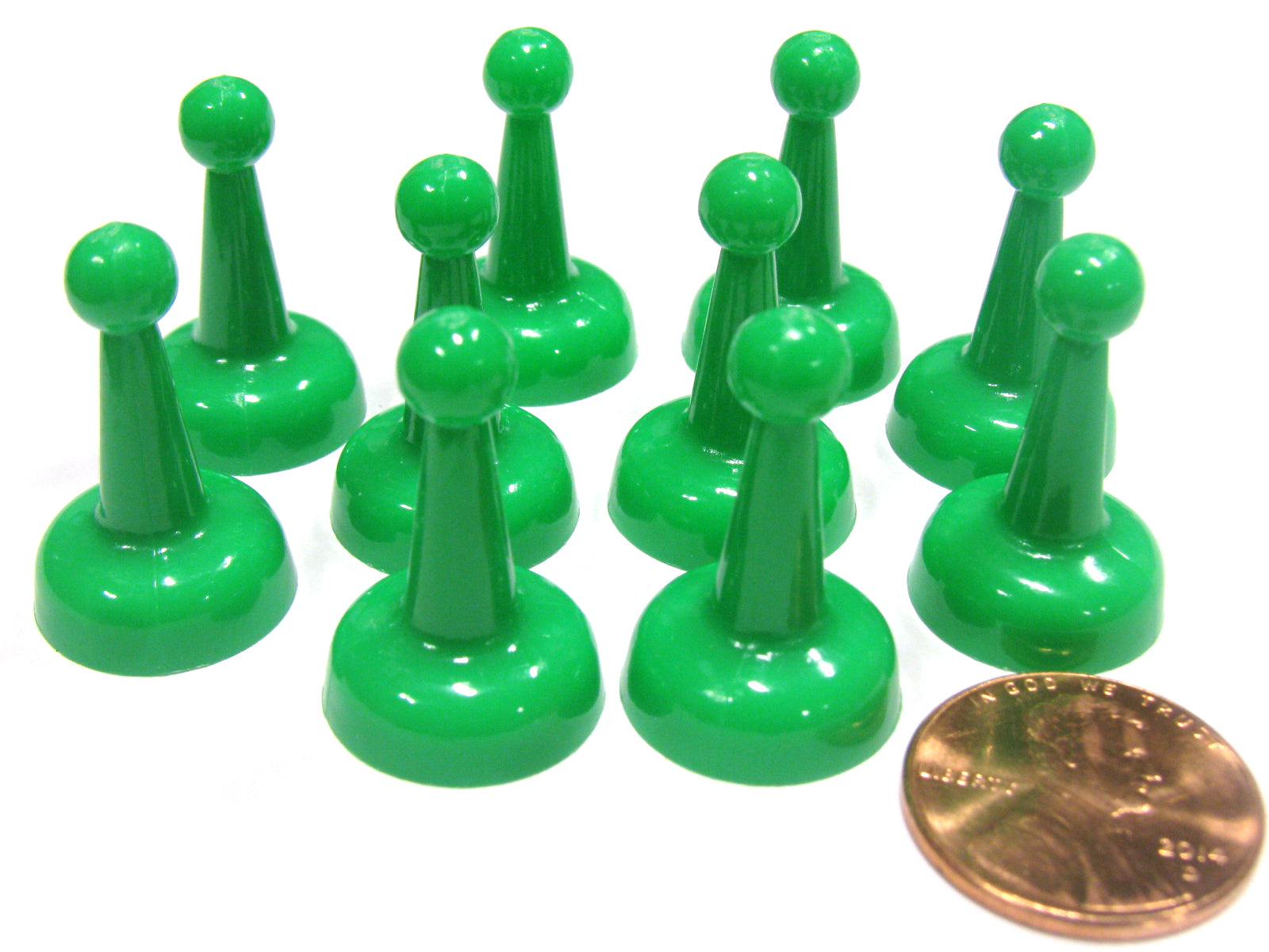 Set of 10 Standard Pawns 25mm Peg Pieces for Board Game Play - Green
