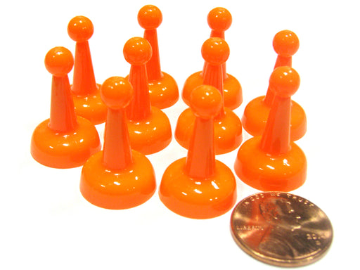 Set of 10 Standard Pawns 25mm Peg Pieces for Board Game Play - Orange