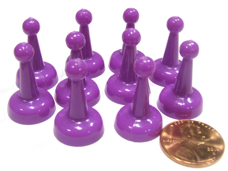 Set of 10 Standard Pawns 25mm Peg Pieces for Board Game Play - Purple