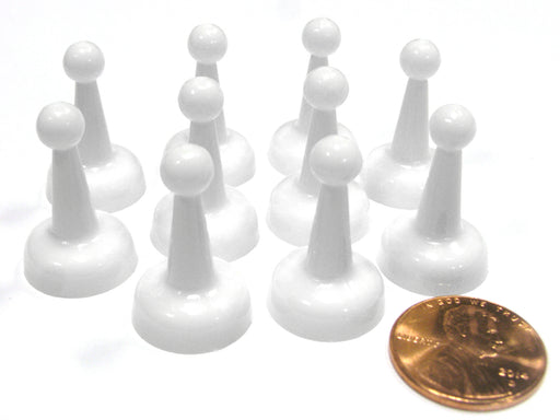 Set of 10 Standard Pawns 25mm Peg Pieces for Board Game Play - White