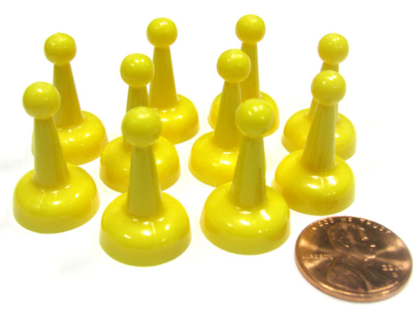 Set of 10 Standard Pawns 25mm Peg Pieces for Board Game Play - Yellow