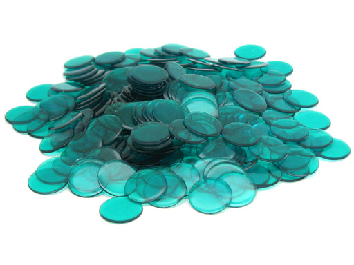 Bag of 250 Plastic 19mm Round Sorting Chip Gaming Accessory - Green