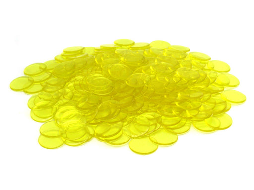 Bag of 250 Plastic 19mm Round Sorting Chip Gaming Accessory - Yellow