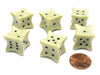 Set of 6 Six D6 6 Sided 18mm Bone Dice - RPG D&D Board Game Roll Dem Bones