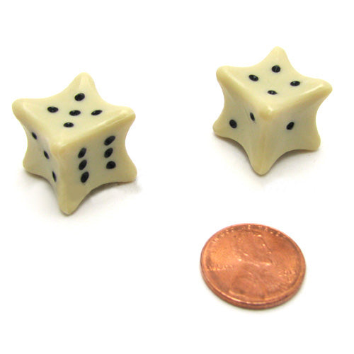 Set of 2 Six D6 6 Sided 18mm Bone Dice Die RPG D&D Board Game Roll Dem Bones