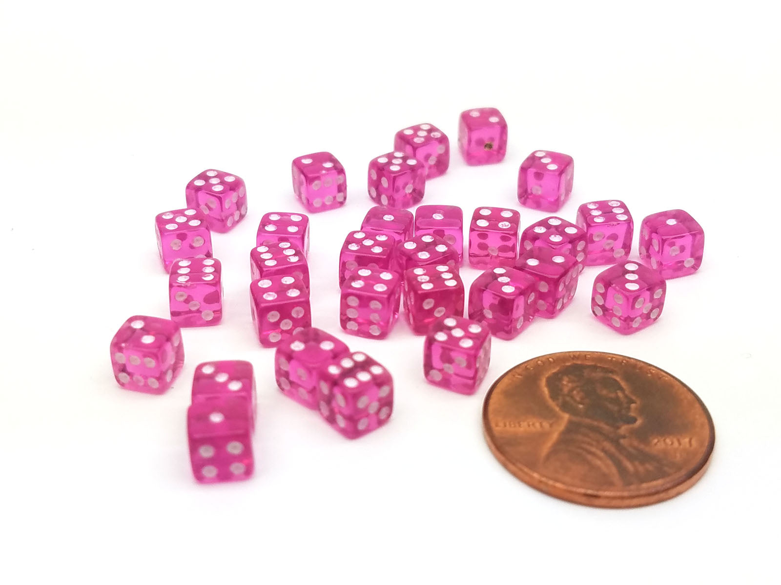 Set of 30 D6 5mm Transparent Rounded Corner Dice - Purple with White Pips