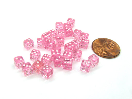 Set of 30 D6 5mm Transparent Rounded Corner Dice - Pink with White Pips