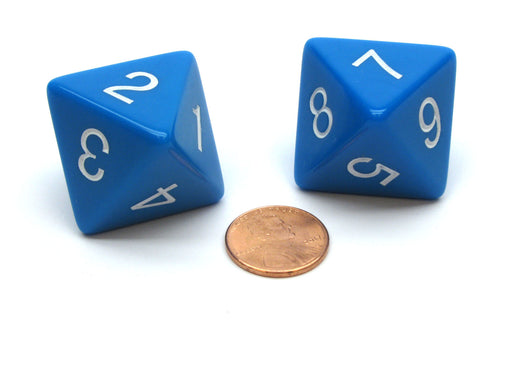 Pack of 2 D8 Opaque Jumbo Dice - Blue with White Numbers