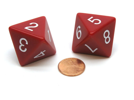Pack of 2 D8 Opaque Jumbo Dice - Red with White Numbers