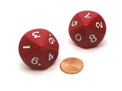 Pack of 2 D10 Opaque Jumbo Dice - Red with White Numbers