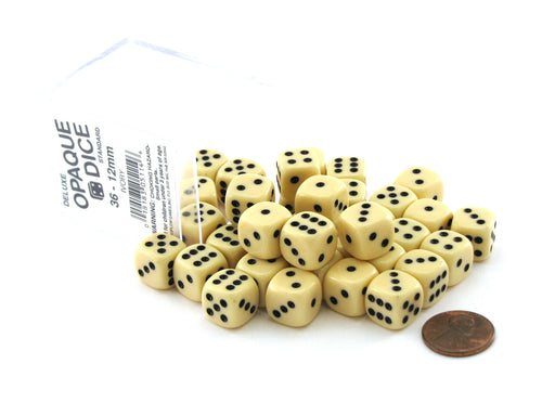 Case of 36 Deluxe Opaque Small 12mm Round Edge Dice - Ivory with Black Pips