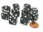 Set of 10 D6 16mm Glitter Dice - Black with White Pips