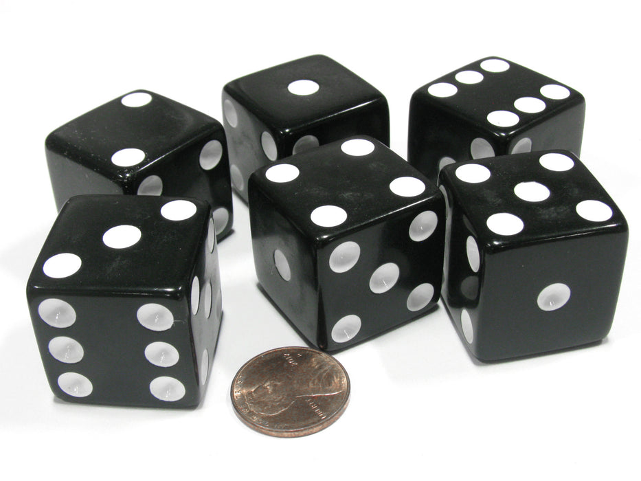 Set of 6 D6 25mm Large Opaque Jumbo Dice - Black with White Pip