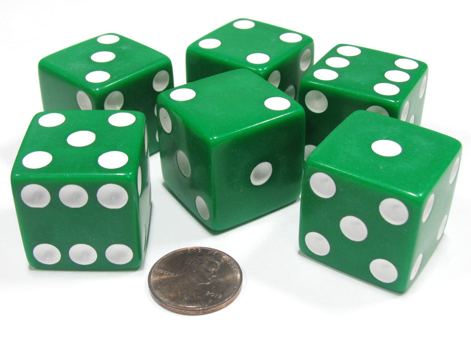 Set of 6 D6 25mm Large Opaque Jumbo Dice - Green with White Pip