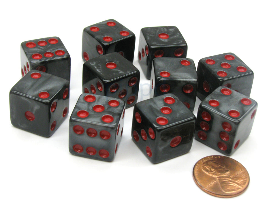 Set of 10 D6 16mm Marbleized Square Corner Dice - Charcoal with Red Pips