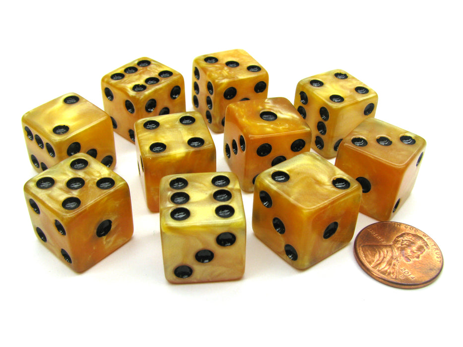 Set of 10 D6 16mm Marbleized Square Corner Dice - Gold with Black Pips