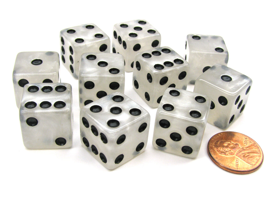 Set of 10 D6 16mm Marbleized Square Corner Dice - Pearl White with Black Pips