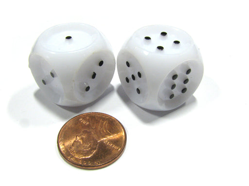 Set of 2 20mm Tactile Dice for the Seeing Impaired - White with Black Pips