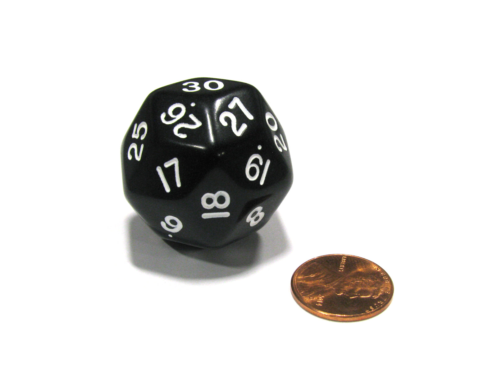 Triantakohedron D30 30 Sided 33mm Jumbo RPG Gaming Dice - Black w White Number