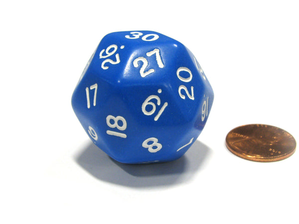 Triantakohedron D30 30 Sided 33mm Jumbo RPG Gaming Dice - Blue w White Number