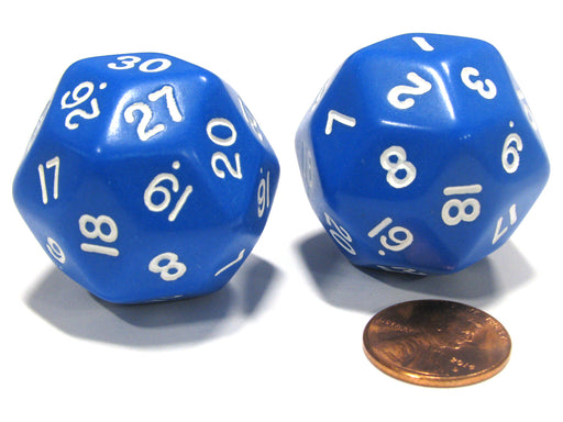 Set of 2 Triantakohedron D30 30 Sided 33mm Jumbo Dice - Blue w White Numbers