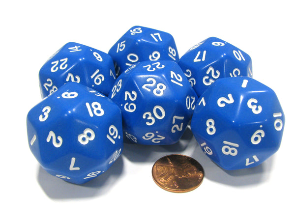 Set of 6 Triantakohedron D30 30 Sided 33mm Jumbo Dice - Blue w White Numbers