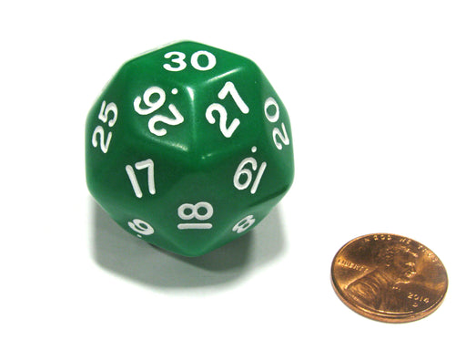 Triantakohedron D30 30 Sided 33mm Jumbo RPG Gaming Dice - Green w White Number