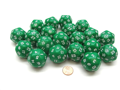 Set of 20 Triantakohedron D30 30 Sided 33mm Jumbo Dice - Green w White Numbers