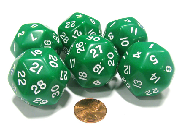 Set of 6 Triantakohedron D30 30 Sided 33mm Jumbo Dice - Green w White Numbers