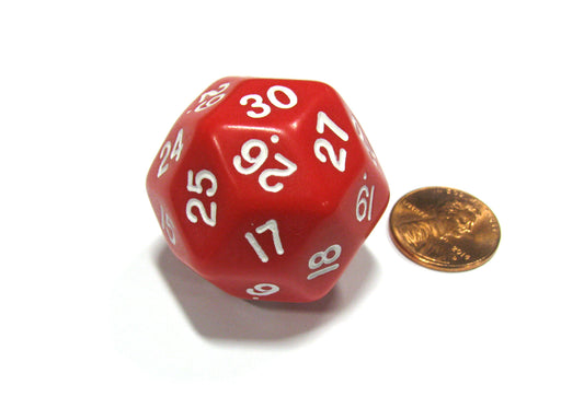 Triantakohedron D30 30 Sided 33mm Jumbo RPG Gaming Dice - Red w White Number